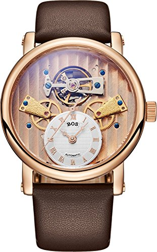 BOS Herren Skelett Uhr weisses Zifferblatt Mechanische Selbstaufziehung wasserfest vergoldet Kalbsleder Band 9006