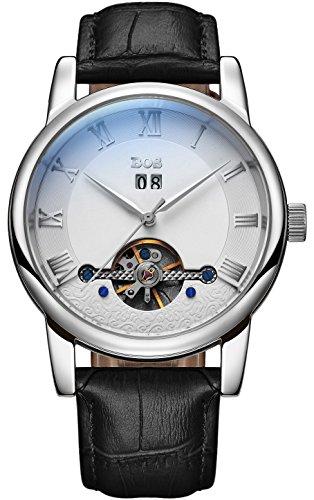 BOS Herren Mode Schwarzes Zifferblatt Mechanische Edelstahl wasserdichte Armbanduhr 9005