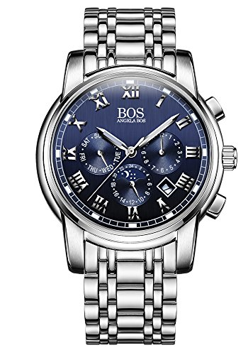 Sport Herren Japanisches QuarzwerK Uhr mit schwarzem Zifferblatt Chronograph Display und Edelstahl Armband blau