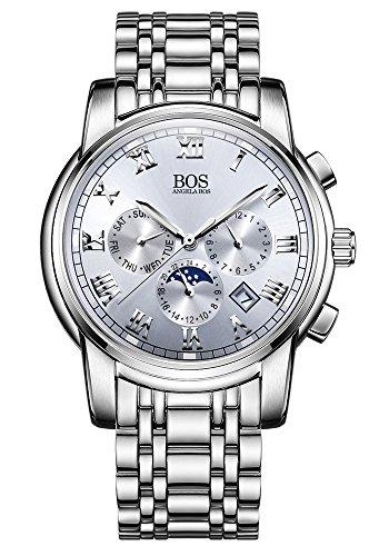 Sport Herren Japanisches QuarzwerK Uhr mit schwarzem Zifferblatt Chronograph Display und Edelstahl Armband Silber