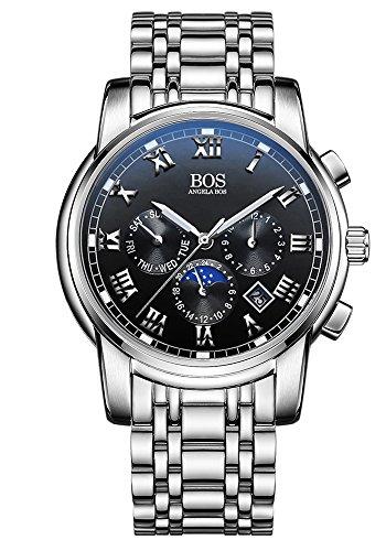Sport Herren Japanisches QuarzwerK Uhr mit schwarzem Zifferblatt Chronograph Display und Edelstahl Armband schwarz