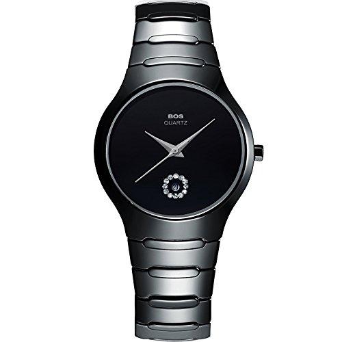 Bos Herren Quarz Keramik Schwarz Fall waehlen Sie einfach ultraduenne Wasserdicht Armband Armbanduhr