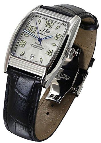 Xezo Incognito 10 ATM wasserdicht tonnenfoermiges Gehaeuse 9015 Miyota Automatik Uhrwerk Luxurioeser Retro Style Grosses Lederband