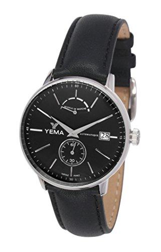 Yema YEAU 002 AA Automatisch Analog schwarzes Zifferblatt Armband aus schwarzem Leder