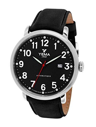 Yema YEAU 009 AU automatisch analog schwarzes Zifferblatt Uhrband aus braunem Leder