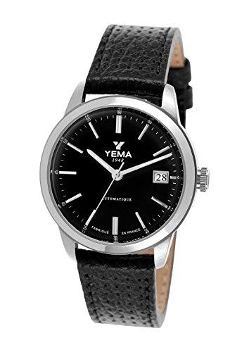 Yema Yeau 011 AA Herrenarmbanduhr Automatisch Analog schwarzes Zifferblatt Armband aus schwarzem Leder