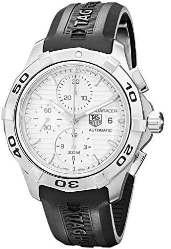 Stainless Steel Aquaracer Silver Dial Chronograph Rubber Strap