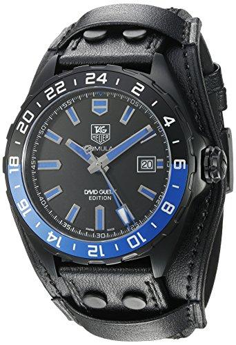 Tag Heuer Armbanduhr fuer Herren mit 43 mm Durchmesser schwarzes Lederarmband Titangehaeuse synthetischer Saphir automatisch analog WAZ201 FC8195