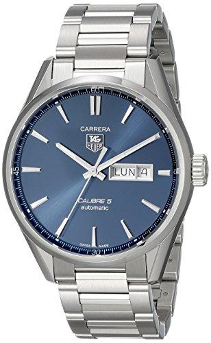 Tag Heuer Herren Armbanduhr Armband Edelstahl Gehaeuse Automatik Zifferblatt Blau Analog WAR201E BA0723