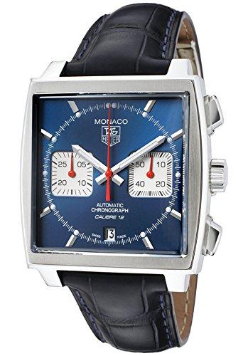 Tag Heuer Herren s Monaco Automatik Chronograph dunkelblau Leder