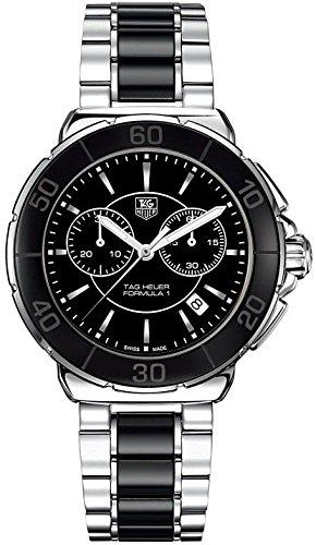 Tag Heuer Formula One Damen Quarzuhr mit schwarzem Zifferblatt Chronograph Anzeige und Silber Edelstahl Armband CAH1210 BA0862