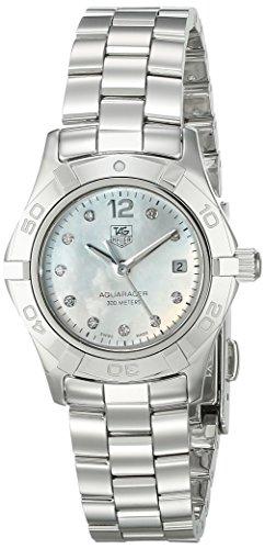 Tag Heuer Aquaracer 10 diamond Damen Quarzuhr mit Mutter von Pearl Zifferblatt Analog Anzeige und Silber Edelstahl Armband WAF1415 BA0824
