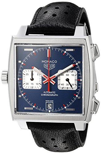 TAG Heuer Monaco CAW211P FC6356 Chronograph Steve McQueen Calibre 11 Zifferblatt blau Gehaeuse Edelstahl Lederband schwarz Saphirglas Calibre 11 Vintage Swiss Made