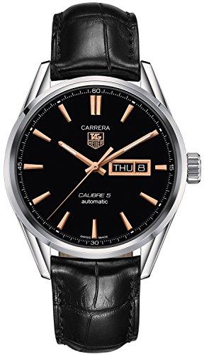 TAG Heuer Carrera Herren Armbanduhr 41mm Armband Leder Schwarz Gehaeuse Edelstahl Automatik WAR201C FC6266