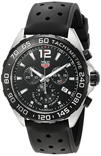 TAG Heuer Herren Armbanduhr 43mm Armband Kautschuk Gehaeuse Edelstahl Schweizer Quarz CAZ1010 FT8024