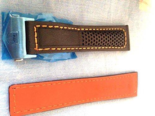 22 18 mm Traeger aus Armbanduhr Schwarz Orange perforiert Stil mit Orange Naht zu fuer Tag Heuer