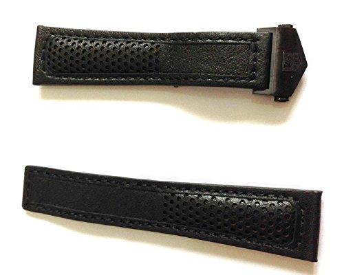22 18 mm Traeger aus Armbanduhr Schwarz Schwarz perforiert Stil mit Orange Naht zu fuer Tag Heuer