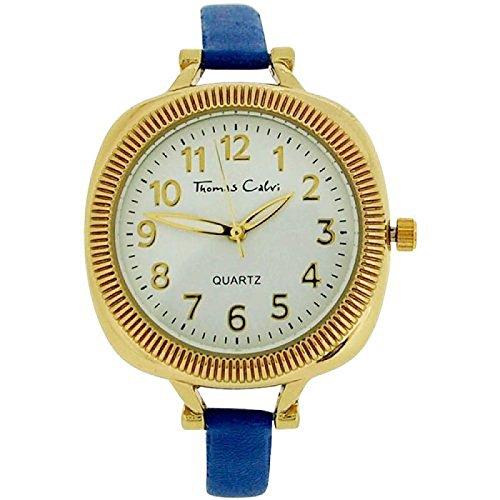 Thomas Calvi Damenanaloguhr weisses Zifferbl blaues PU Armband TCW155B