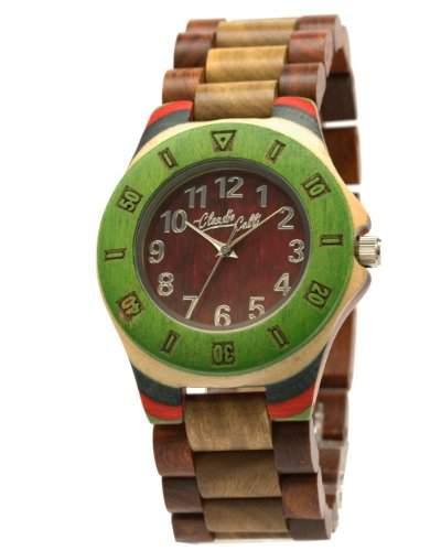 Claudio Calli Unisex Armbanduhr aus Holz CAL6502 Braun Analog Quarz