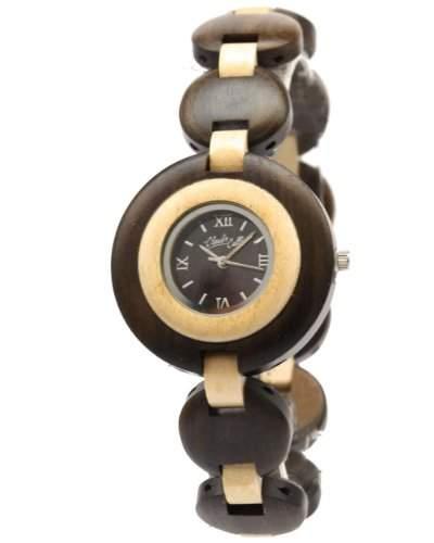 Claudio Calli Damen Armbanduhr aus Holz CAL6505 Braun und Beige Analog Quarz