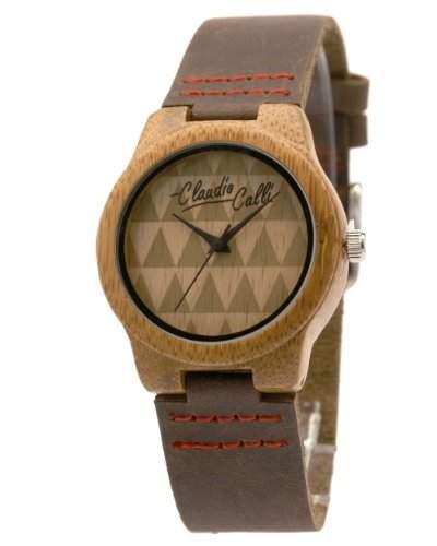 Claudio Calli Unisex Armbanduhr aus Holz mit Lederarmband CAL6506 Braun Analog Quarz