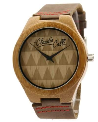 Claudio Calli Unisex Armbanduhr aus Holz mit Lederarmband CAL6507 Braun Analog Quarz