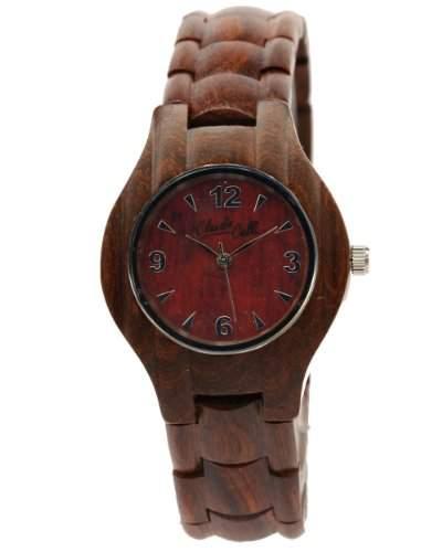 Claudio Calli Unisex Armbanduhr aus Holz CAL6508 Rotbraun Analog Quarz