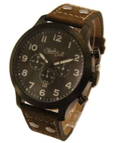 Claudio Calli Herren Armbanduhren CAL7872 Dummy Chronograph Braun Leder Schwarz Analog Quarz