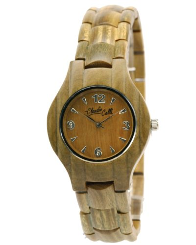Claudio Calli Unisex Armbanduhr aus Holz CAL 6509 hellbraun Analog Quarz