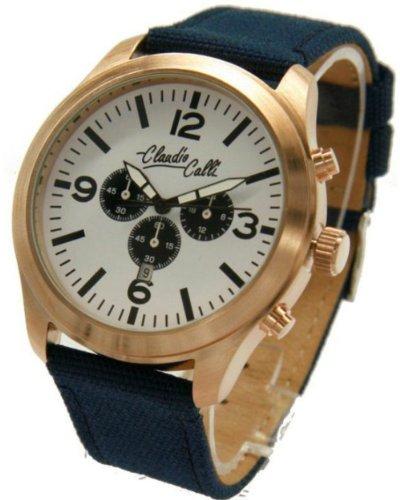 Claudio Calli Unisex Armbanduhren CAL 7710 Dummy Chronograph Blau Nylon Rotgold Analog Quarz
