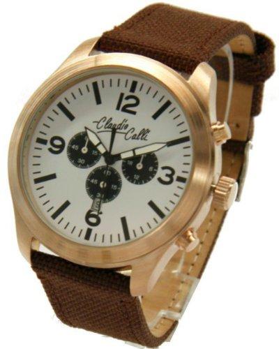 Claudio Calli Unisex Armbanduhren CAL 7711Dummy Chronograph Braun Nylon Rotgold Analog Quarz