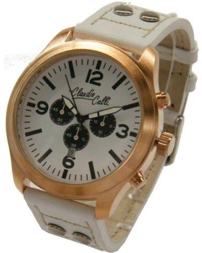 Claudio Calli Unisex Armbanduhren CAL 7712 Dummy Chronograph Weiss Leder Rotgold Analog Quarz