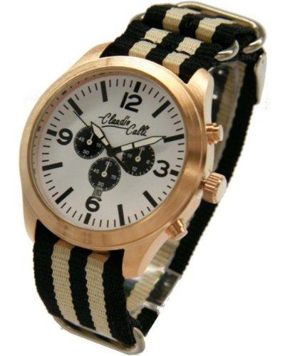 Claudio Calli Unisex Armbanduhren CAL 7714 Dummy Chronograph Schwarz und Beige Nylon Rotgold Analog Quarz