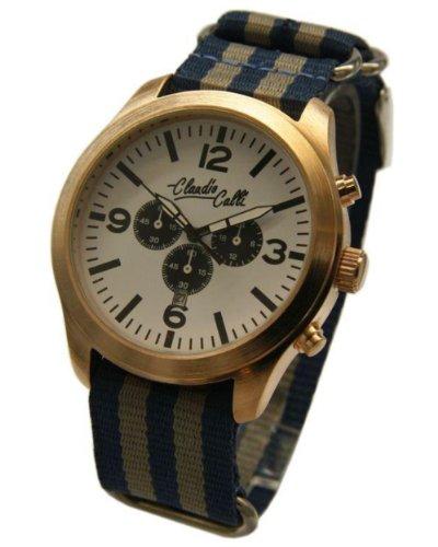 Claudio Calli Unisex Armbanduhren CAL 7715 Dummy Chronograph Blau und Grau Nylon Rotgold Analog Quarz