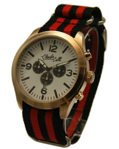 Claudio Calli Unisex Armbanduhren CAL 7716 Dummy Chronograph Rot und Schwarz Nylon Rotgold Analog Quarz