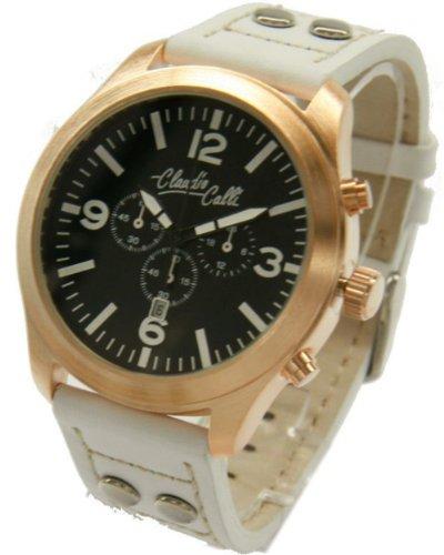 Claudio Calli Unisex Armbanduhren CAL 7723 Dummy Chronograph Weiss Leder Rotgold Analog Quarz