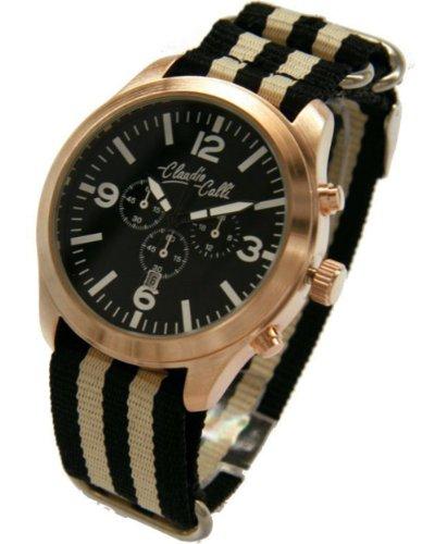 Claudio Calli Unisex Armbanduhren CAL 7725 Dummy Chronograph Schwarz und Beige Nylon Rotgold Analog Quarz