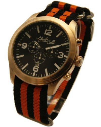 Claudio Calli Unisex Armbanduhren CAL 7726 Dummy Chronograph Schwarz und Orange Nylon Rotgold Analog Quarz