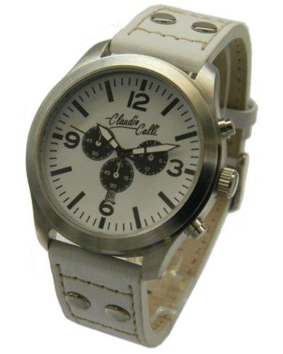 Claudio Calli Unisex Armbanduhren CAL 7741 Dummy Chronograph Weiss Leder Silber Analog Quarz