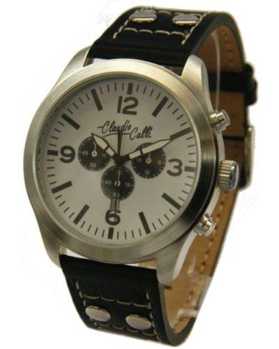 Claudio Calli Unisex Armbanduhren CAL 7742Dummy Chronograph Schwarz Leder Silber Analog Quarz