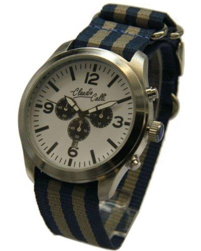 Claudio Calli Unisex Armbanduhren CAL 7745 Dummy Chronograph Blau und Grau Nylon Silber Analog Quarz