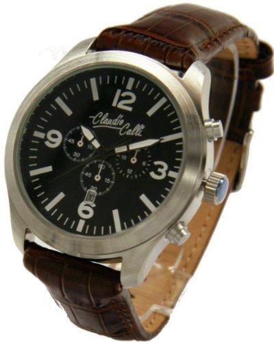 Claudio Calli Unisex Armbanduhren CAL 7751 Dummy Chronograph Braun Leder Silber Analog Quarz