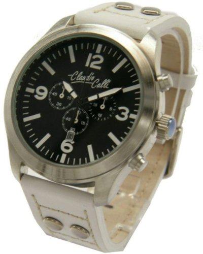Claudio Calli Unisex Armbanduhren CAL 7753 Dummy Chronograph Weiss Leder Silber Analog Quarz