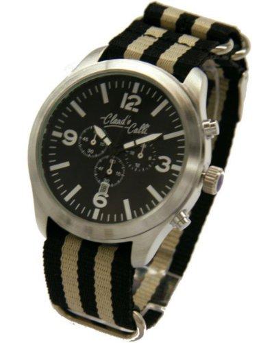 Claudio Calli Unisex Armbanduhren CAL 7755 Dummy Chronograph Schwarz und Beige Nylon Silber Analog Quarz