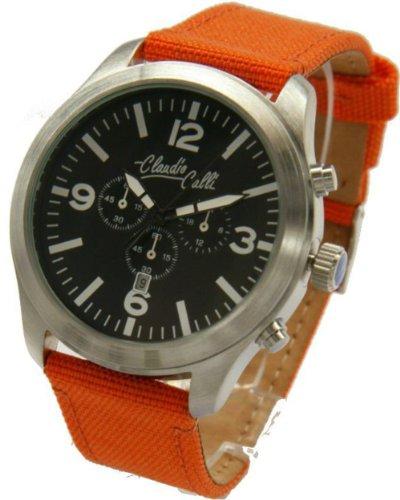 Claudio Calli Unisex Armbanduhren CAL 7757 Dummy Chronograph Orange Nylon Silber Analog Quarz