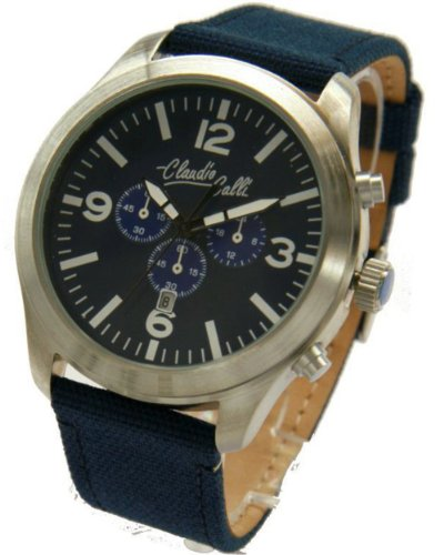 Claudio Calli Unisex Armbanduhren CAL 7761 Dummy Chronograph Blau Nylon Silber Analog Quarz