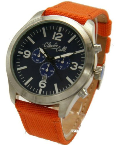 Claudio Calli Unisex Armbanduhren CAL 7762 Dummy Chronograph Orange Nylon Silber Analog Quarz