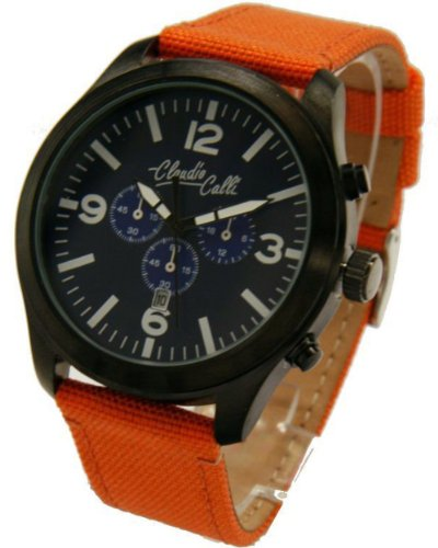 Claudio Calli Unisex Armbanduhren CAL 7772 Dummy Chronograph Orange Nylon Schwarz Analog Quarz