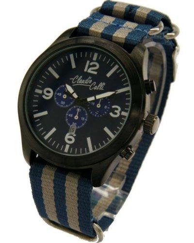 Claudio Calli Unisex Armbanduhren CAL 7775 Dummy Chronograph Blau und Grau Nylon Schwarz Analog Quarz