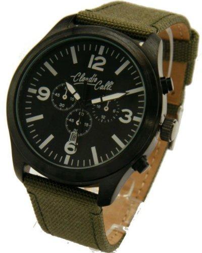 Claudio Calli Unisex Armbanduhren CAL 7780 Dummy Chronograph Gruen Nylon Schwarz Analog Quarz